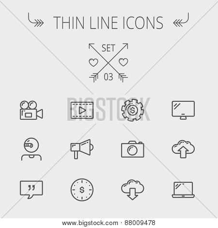 Technology thin line icon set for web and mobile. Set includes - laptop, monitor,video camera, megaphone, web camera, gear, camera, clouds up and down. Modern minimalistic flat design. Vector dark poster