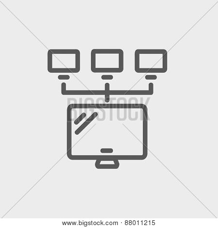 Screen with cameras icon thin line for web and mobile, modern minimalistic flat design. Vector dark grey icon on light grey background.