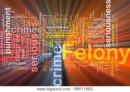 Background concept wordcloud of felony crime glowing light