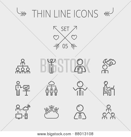 Business thin line icon set for web and mobile. Set includes- laptop, tablet, computer, globe, Businessmen, men, cloud. Modern minimalistic flat design. Vector dark grey icon on light grey background.