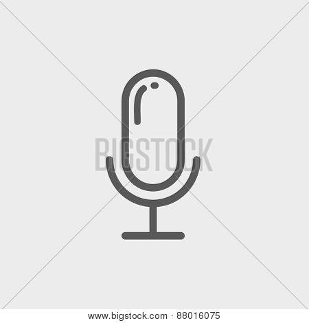 Retro microphone icon thin line for web and mobile, modern minimalistic flat design. Vector dark grey icon on light grey background. poster