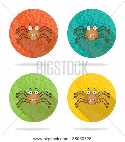 Set, collection, group of four halloween, round, isolated, flat, buttons, icons, signs, labels
