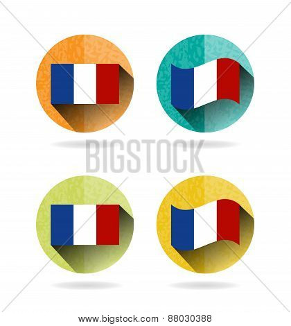 Set, collection, group of four modern, colorful, isolated, round buttons, icons, labels, signs