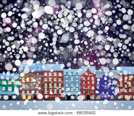 Vector snowfall  winter wonderland city scape nightscene.