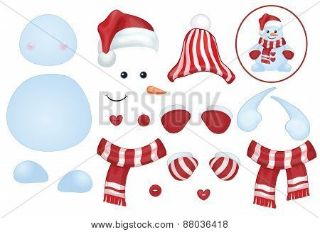 Vector snowman template make own snowman, isolated obects.