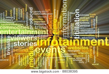 Background text pattern concept wordcloud illustration of infotainment glowing light