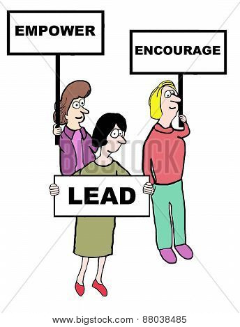 Cartoon of businesswomen holding signs that read: empower, encourage, lead. poster