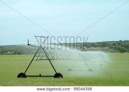 Sprinkler Irrigation Watering Cultivated Field