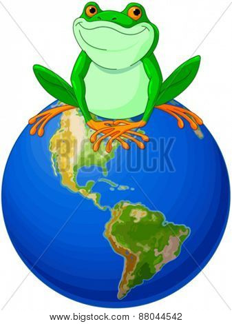 Frog sits on Earth at the Earth Day