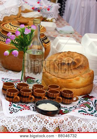 Traditional Romanian Homemade Bread and alcohol drink