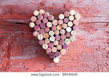 Plenty Of Wine Bottle Corks In Heart Shape