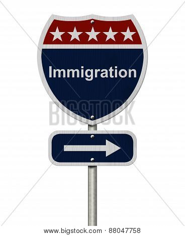 Immigration This Way Sign
