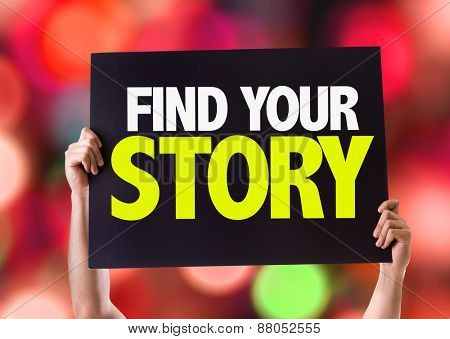 Find Your Story card with bokeh background poster