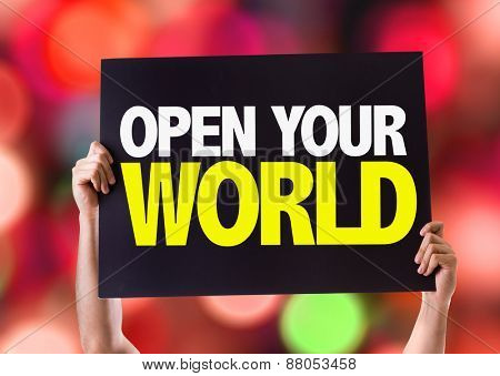 Open Your World card with bokeh background