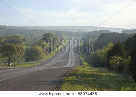 Road In The Texas Hill Country Near Sundown