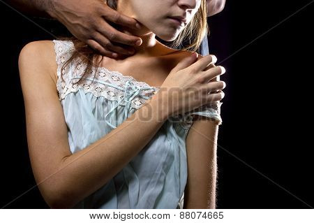 Abusive Man Choking Female Victim