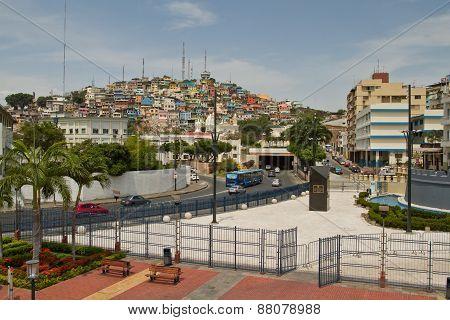 View of Cerro Santa Ana, city landmark in Guayaquil