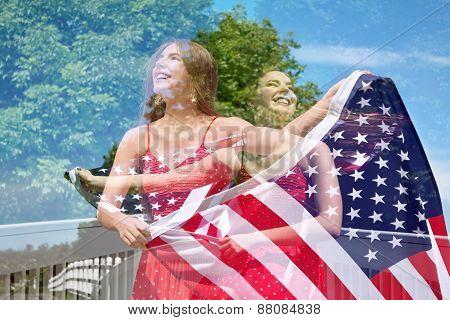Double Exposure Of Patriotic Woman