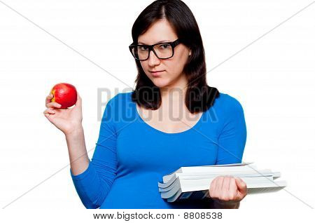 Nerdy Young Female With Books And Apple