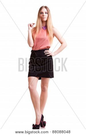 Young Blonde Ceo Full Body Over White Background