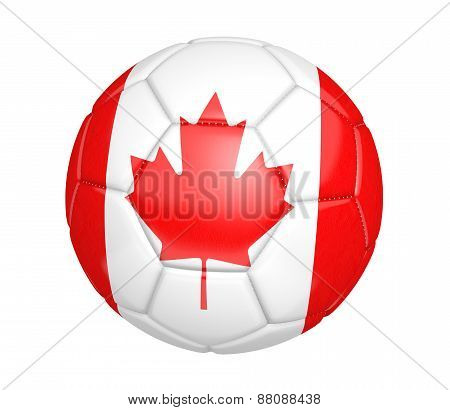 Soccer ball, or football, with the country flag of Canada