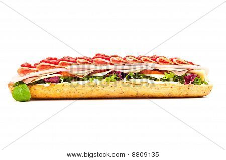 Fresh Meat Feast Salad Baguette Isolated On White Background