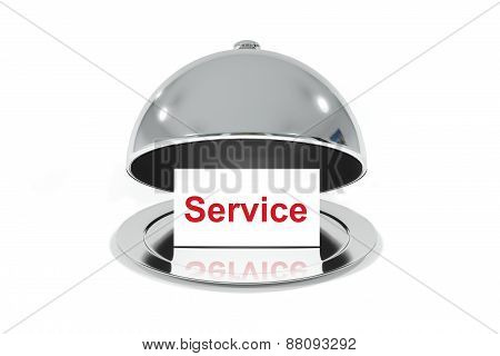 Opened Silver Cloche With White Sign Service
