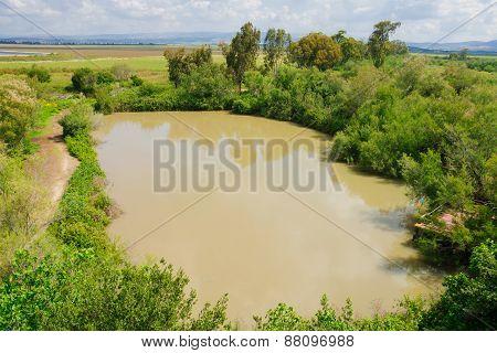 Wetland landscape in En Afek Nature Reserve northern Israel poster