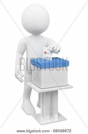 3D White People. Man Putting His Ballot Paper In A Ballot Box