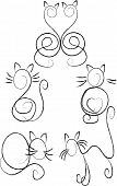 Cats in the contour ,black and white poster