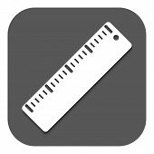 The ruler icon. Ruler symbol. Flat Vector illustration. Button poster
