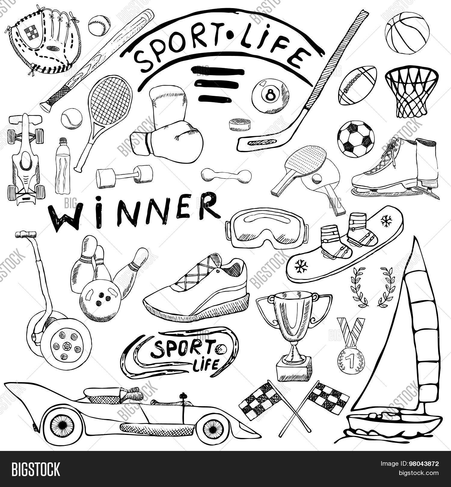 Sport Life Sketch Vector & Photo (Free Trial) | Bigstock