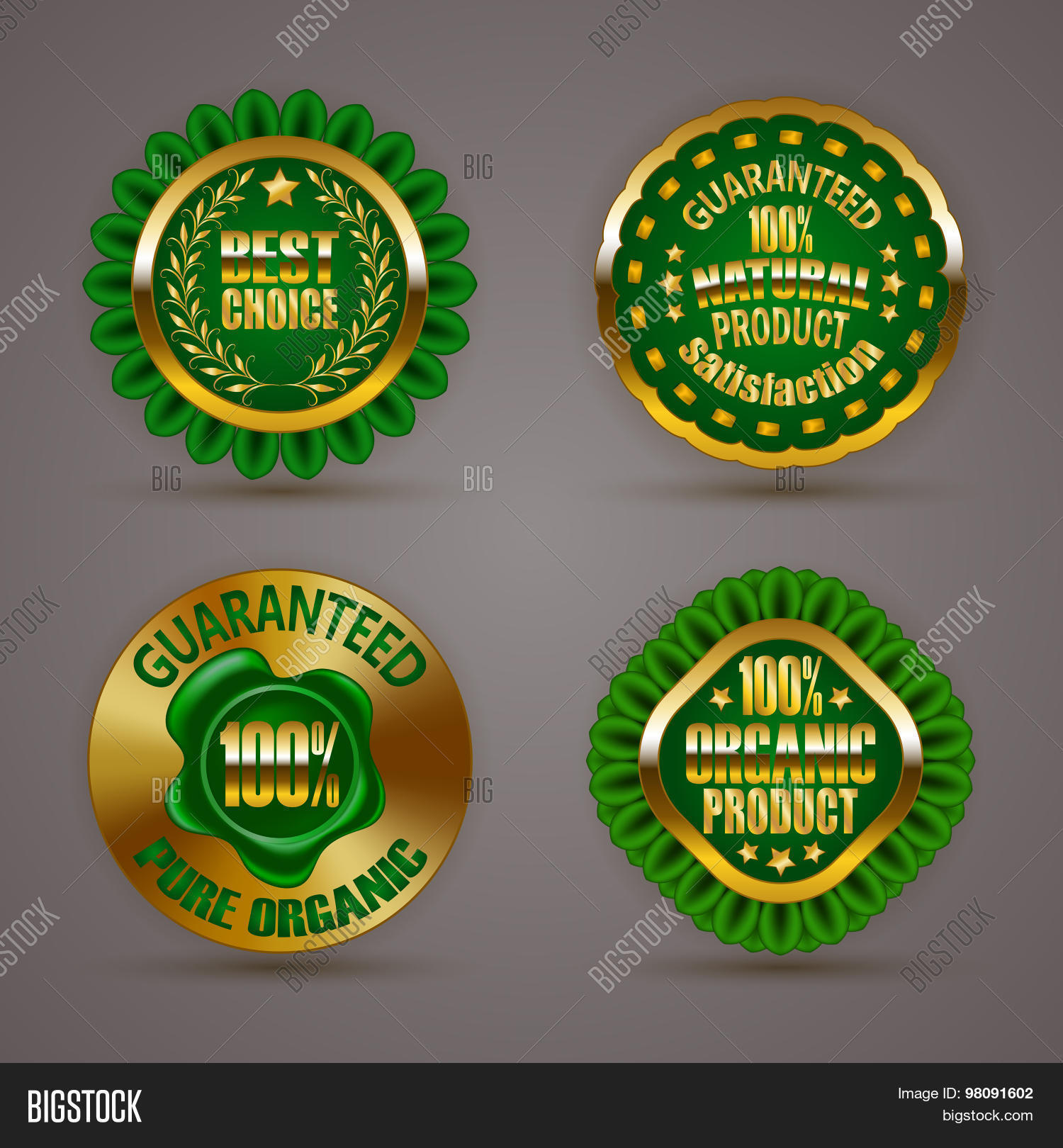 Set of luxury gold badges with laurel wreath star wax seal 100 percent pure organic natural product guaranteed eco emblem bio icon logo label