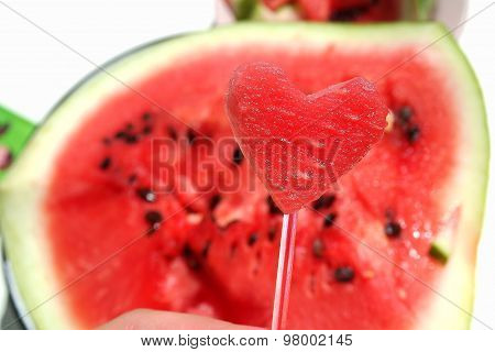 I love summer, watermelon on the table mysterious photo heart-shaped watermelon