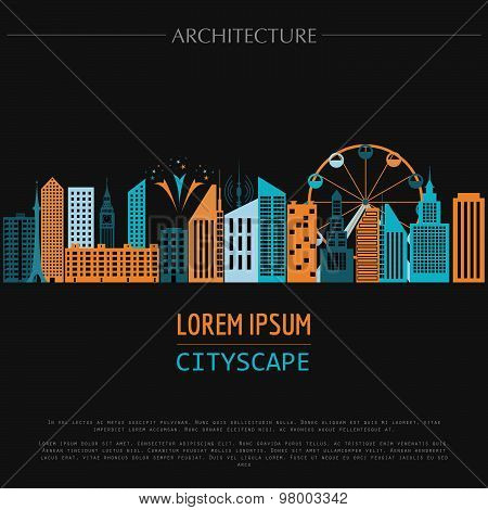 Cityscape graphic template. Modern city architecture. Vector illustration with different modern city