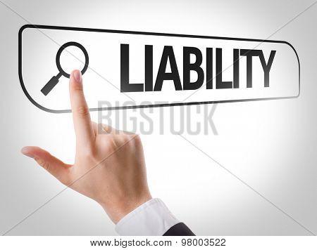 Liability written in search bar on virtual screen