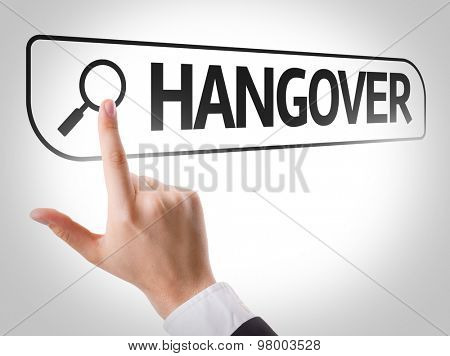 Hangover written in search bar on virtual screen poster