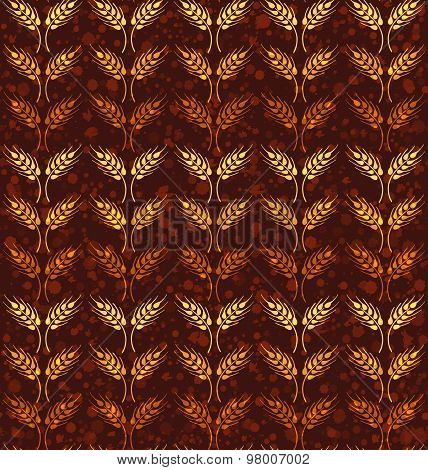 Seamless vintage pattern with rows of yellow and orange wheat. Brown agricultural backdrop about harvest and grain against background with paint splashes