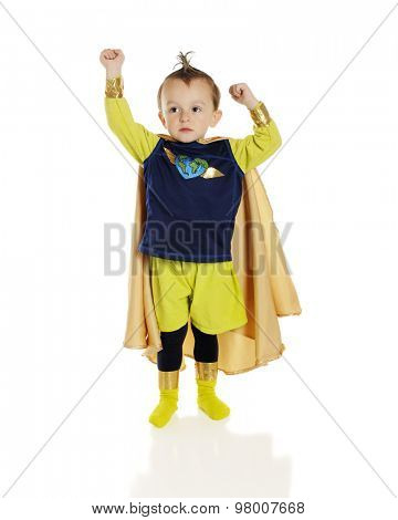 An adorable preschool superhero with a heart-shaped world on his chest, raising his fists -- one higher than the other.  On a white background.