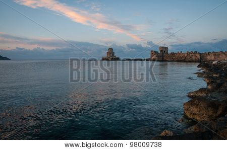 Image of seascape and ruins of fortress of Methoni Peloponnese Greece poster