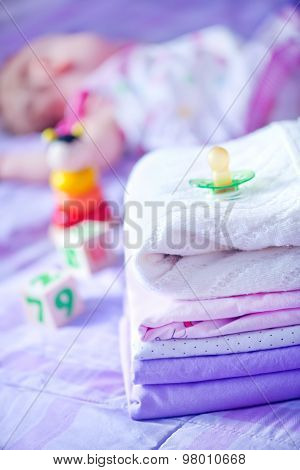 clear bed-linen for baby on the bed poster