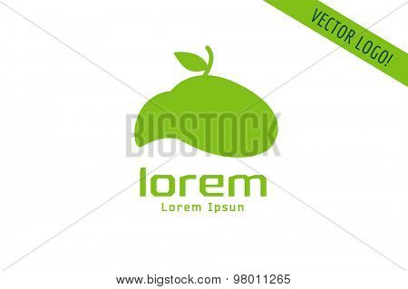 Vector apple abstract logo template. Green nature shape and fruit fresh symbol, icon, food or vegetarian, eco. Company logotype. Stock illustration