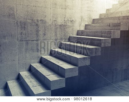 Abstract Concrete Interior, Cantilevered Stairs 3D
