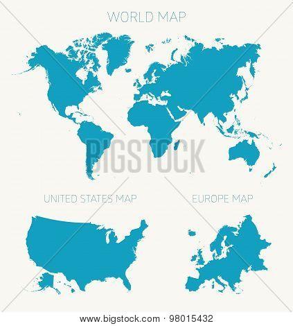 Set World American Europe map vector illustration