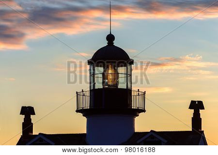 View of Point Pinos lighthouse at sunset