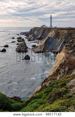 Point Arena Lighthouse on the rock, California, USA