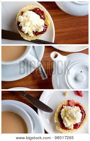 Triptych collage of traditional English afternoon tea of scones with clotted cream and jam, along with a cup of hot tea.