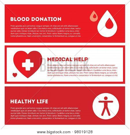 Medical donation. Banner set in red colors