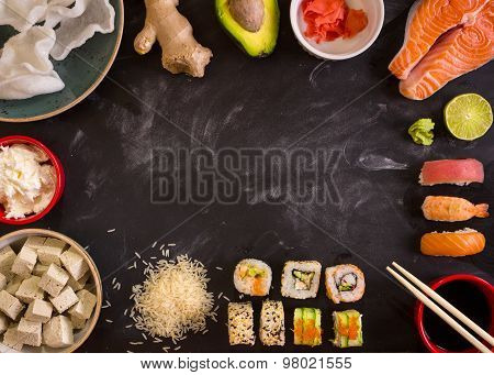Ingredients For Sushi On Dark Background