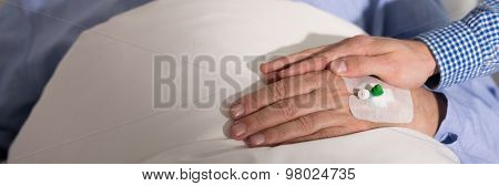 Male Hand With Intravenous Cannula